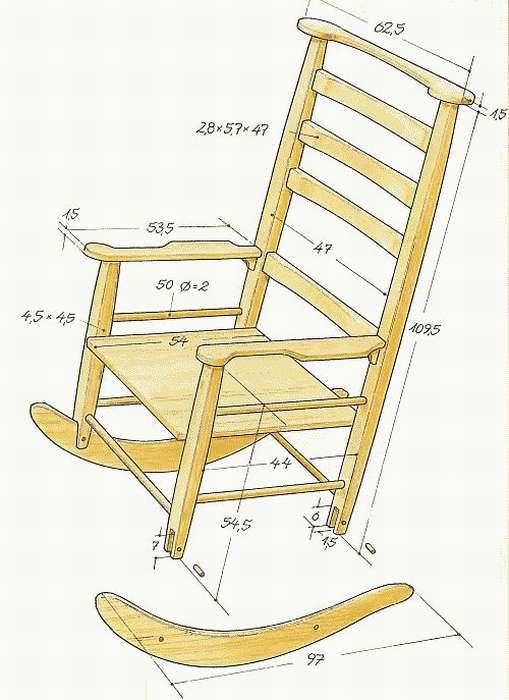 Чертеж как сделать кресло качалку своими руками из дерева