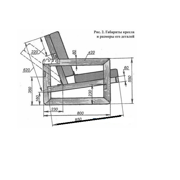 Схема-чертеж мягкого кресла своими руками 65