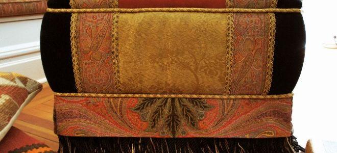 Как обшить тканью пуфик (реставрация мебели своими руками)