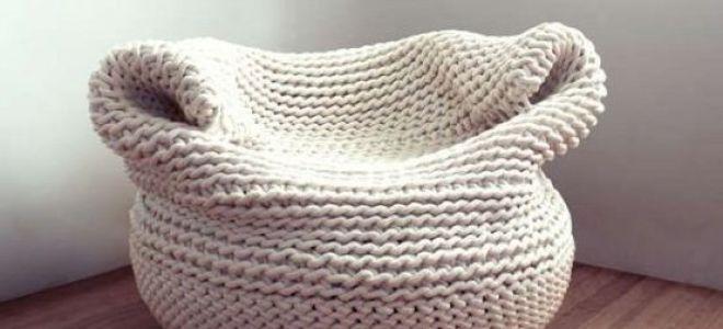 Как сделать вязаный пуф из трикотажной пряжи самостоятельно