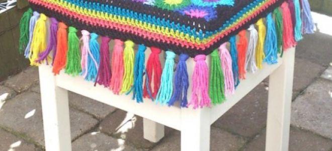 Как связать крючком чехол на табурет: описание работы и схемы вязания