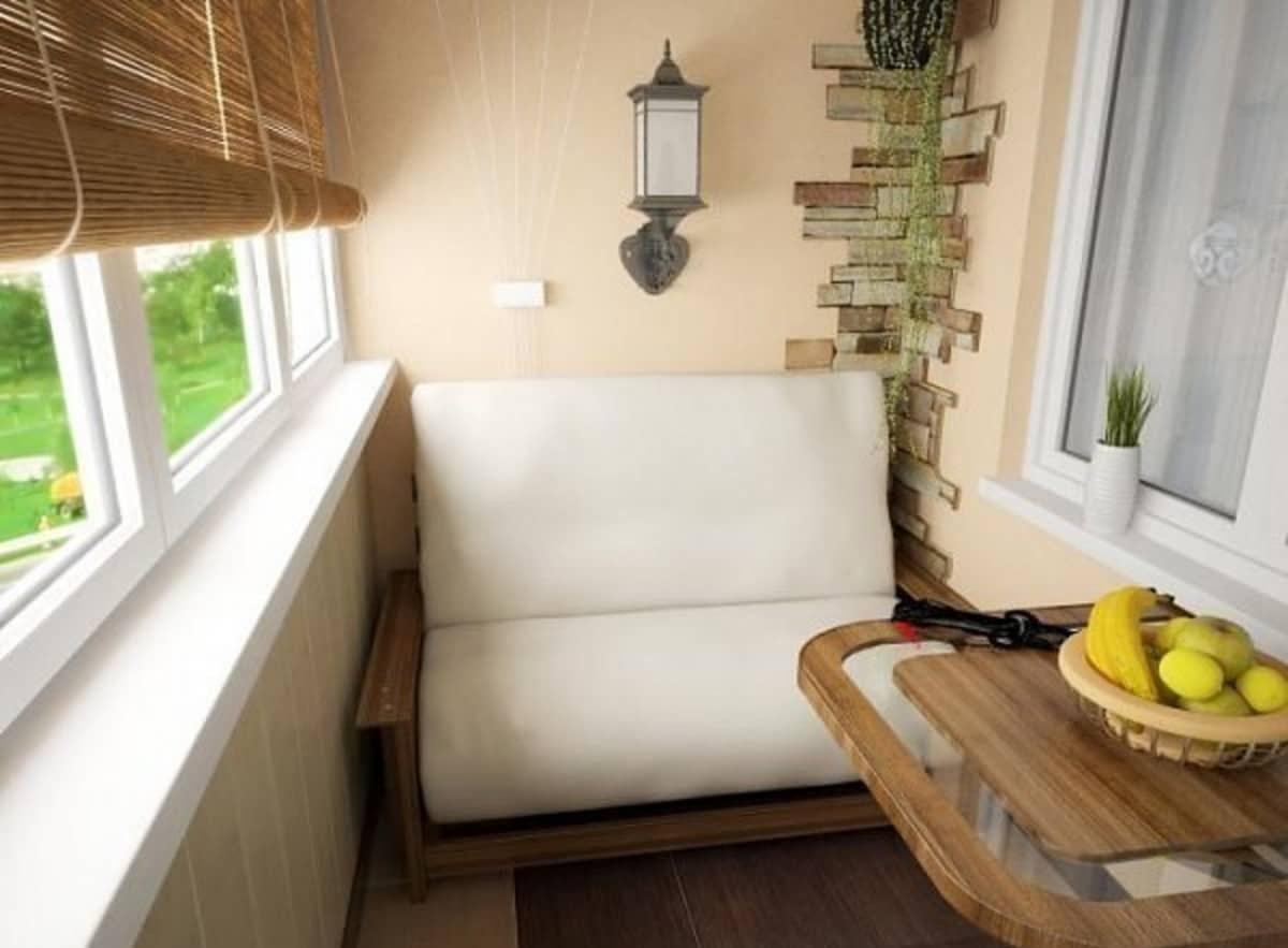 Отделка балкона и лоджии внутри, дизайн интерьера.
