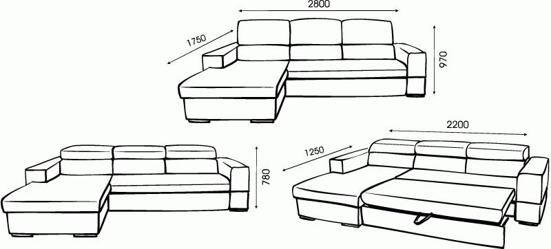 диван угловой размеры габариты и как выбрать
