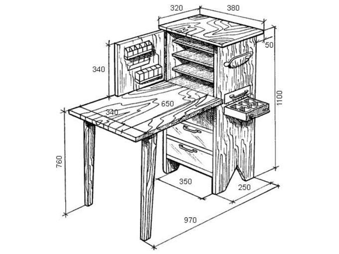 сделать маникюрный стол своими руками чертеж